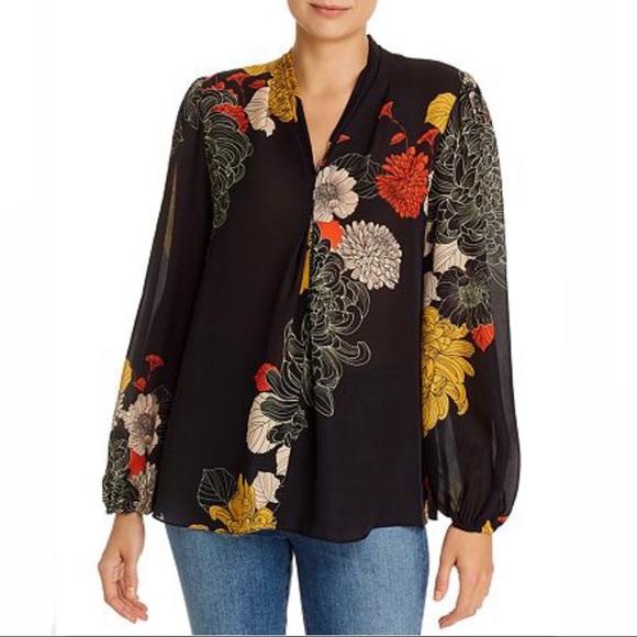 KOBI HALPERIN SAKARA Japanese Floral Silk Blouse